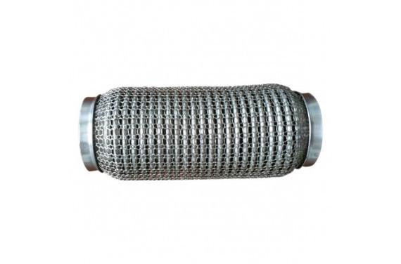 Flexible d'echappement inox ondule et grillage pour tube diametre 70mm - longueur 152mm
